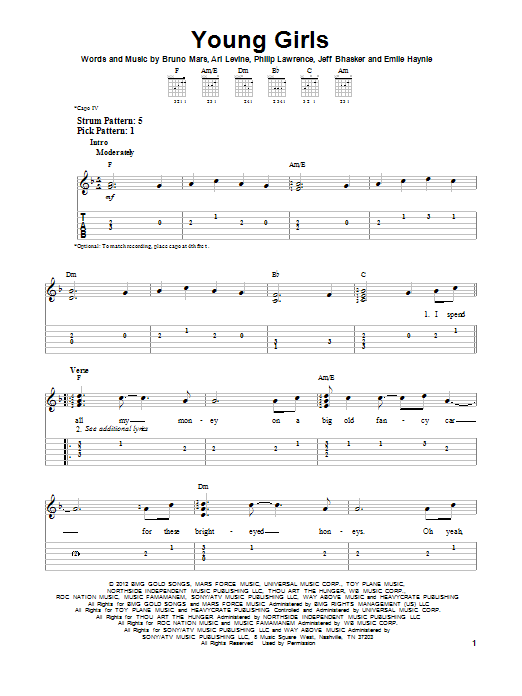 Tablature guitare Young Girls de Bruno Mars - Tablature guitare facile