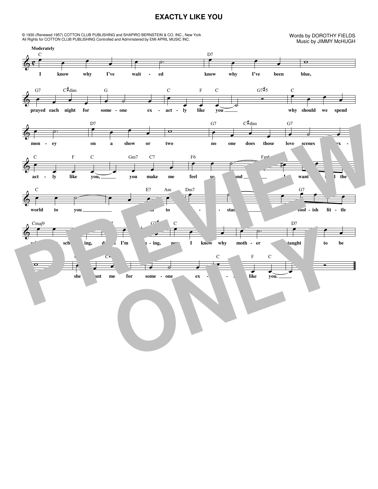 Exactly Like You (Lead Sheet / Fake Book)