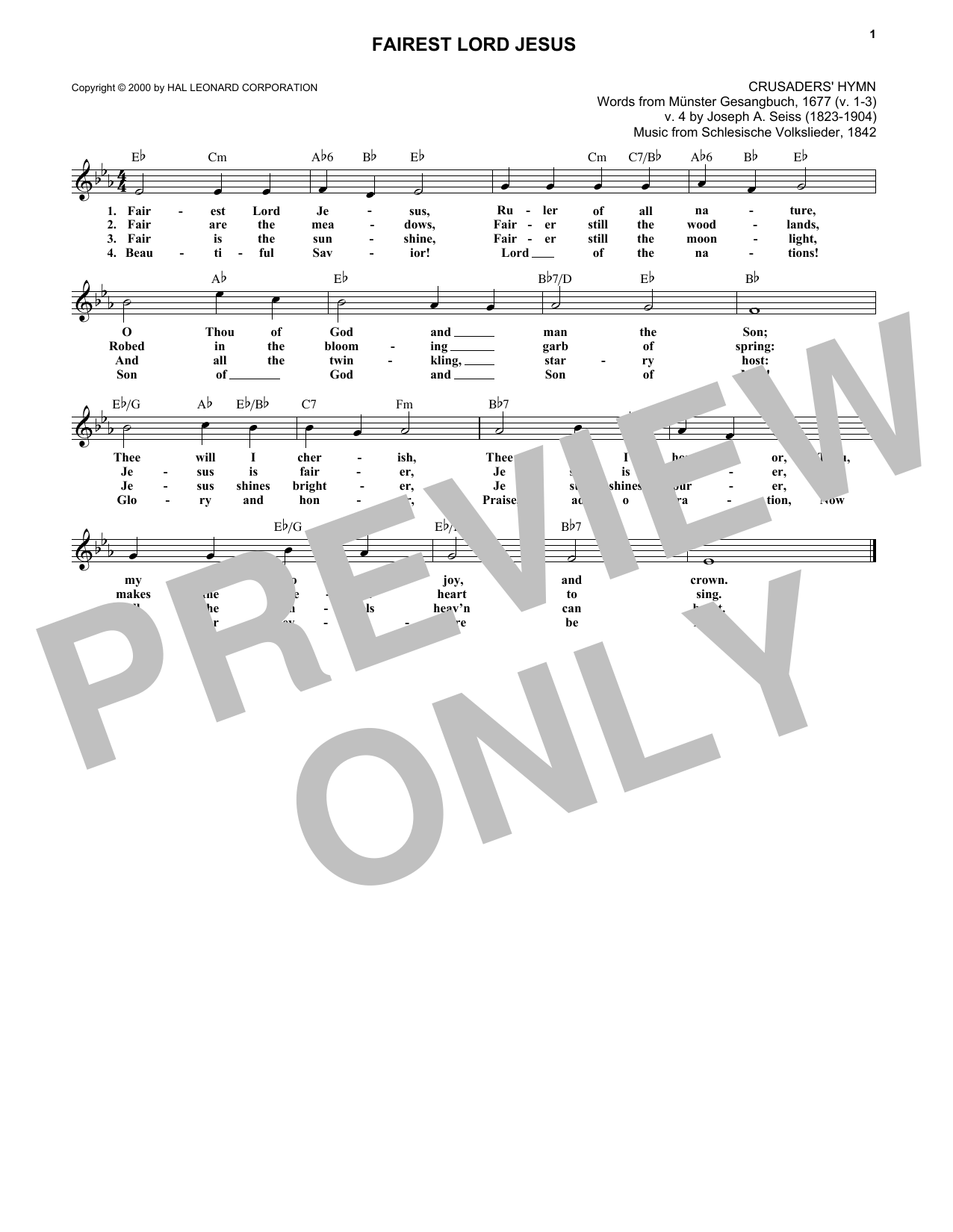Fairest Lord Jesus (Lead Sheet / Fake Book)