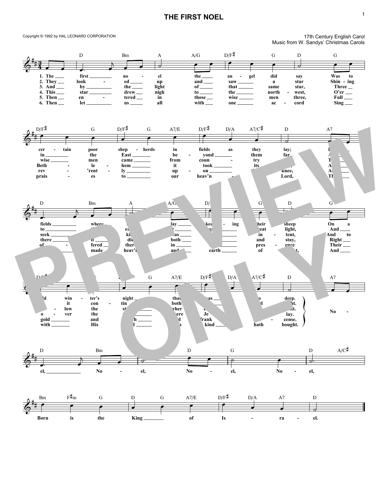 The First Noel (Lead Sheet / Fake Book)