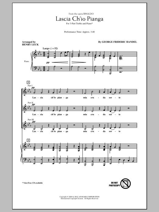 Lascia Ch'io Pianga Sheet Music