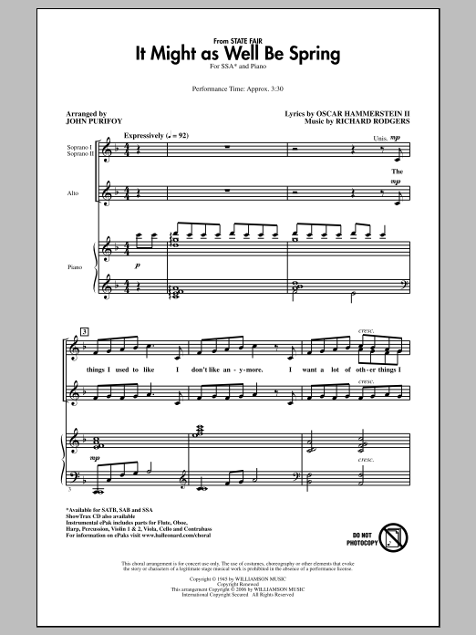 It Might As Well Be Spring (arr. John Purifoy) Sheet Music