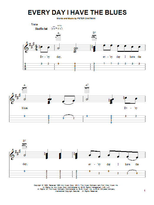 Every Day I Have The Blues (Easy Ukulele Tab)