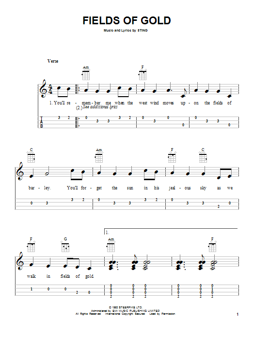 Tablature guitare Fields Of Gold de Sting - Ukulele