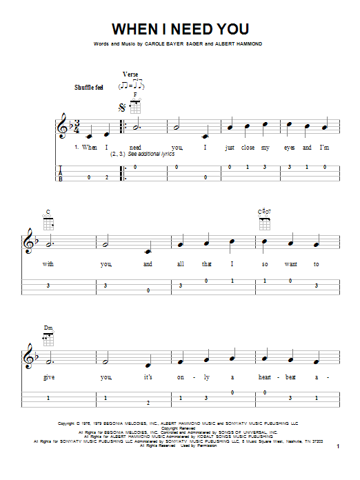 Tablature guitare When I Need You de Leo Sayer - Ukulele