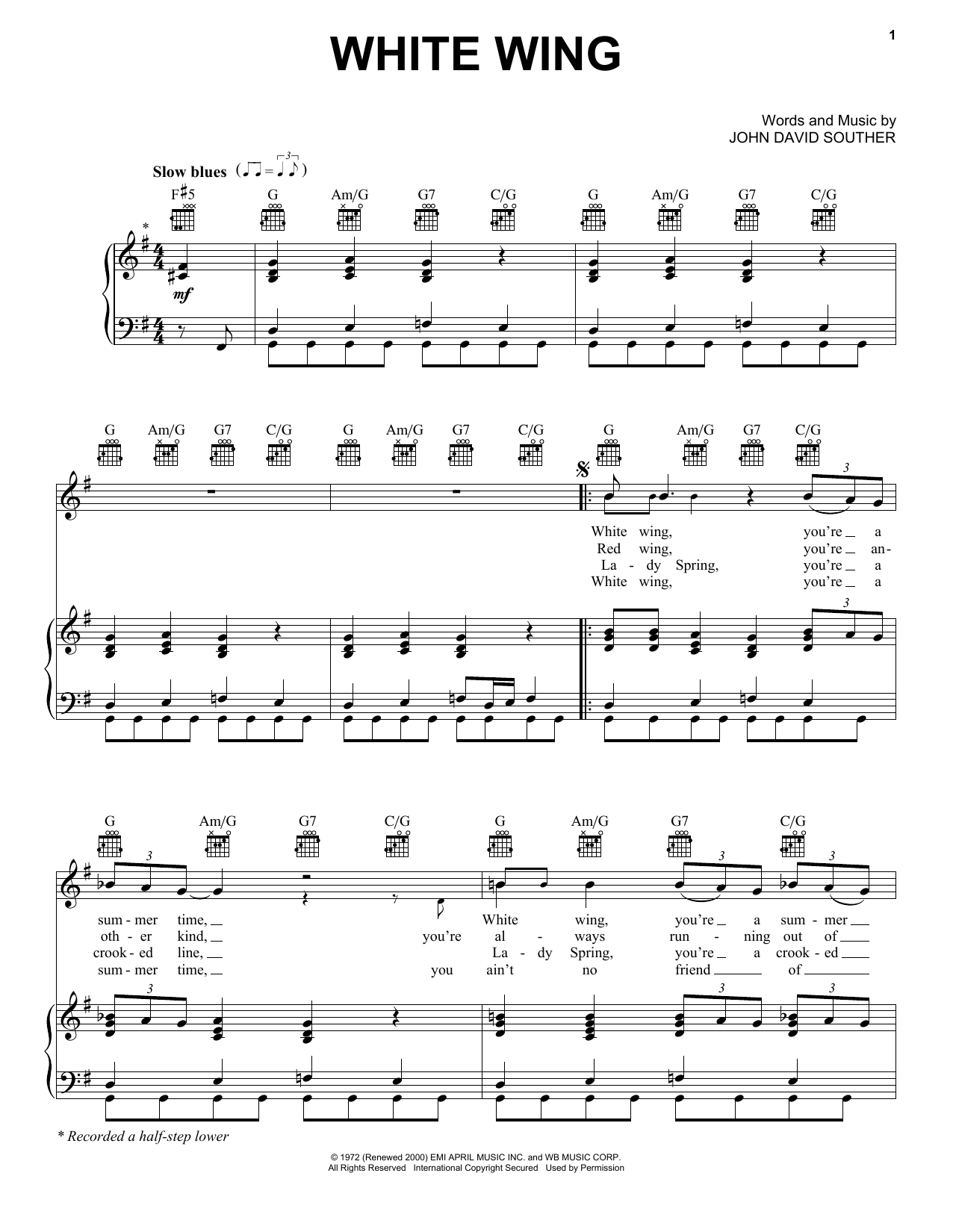 White Wing Sheet Music