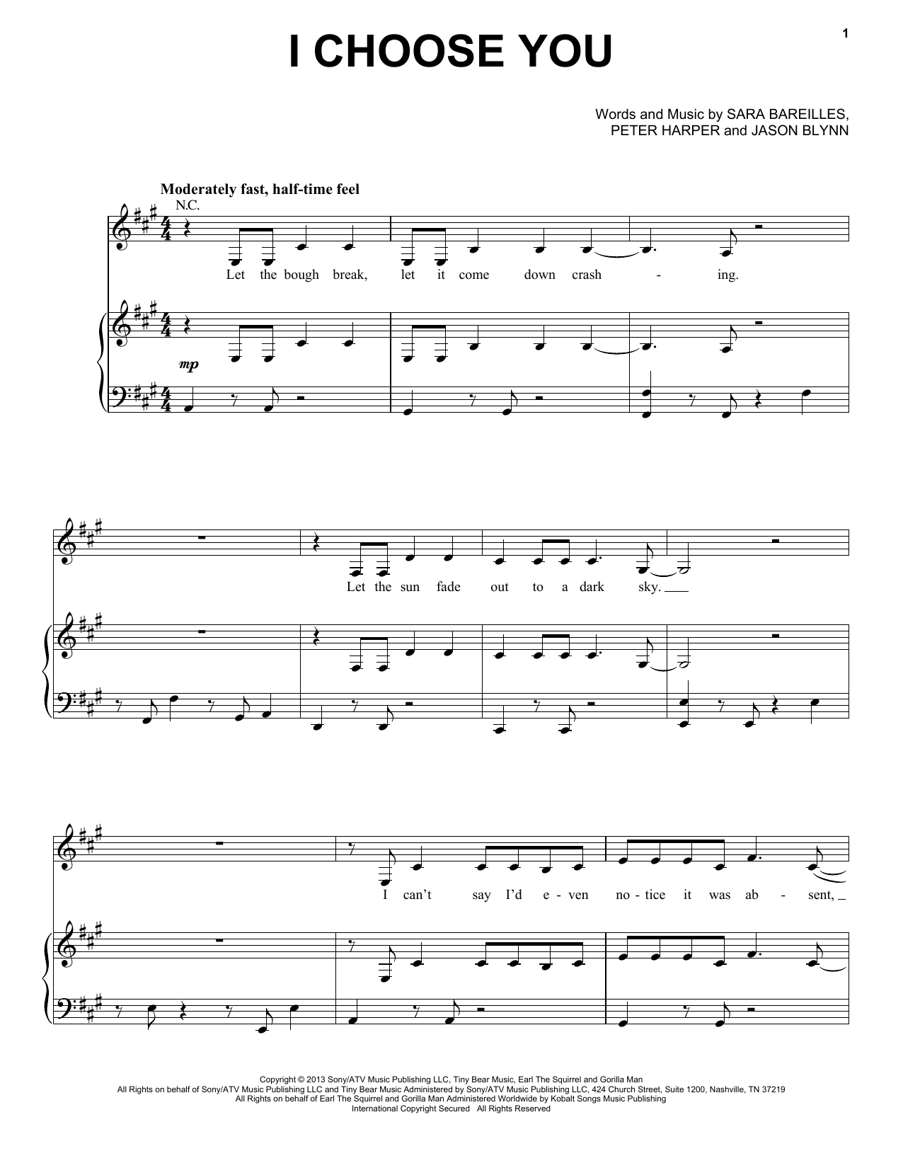I Choose You Sheet Music