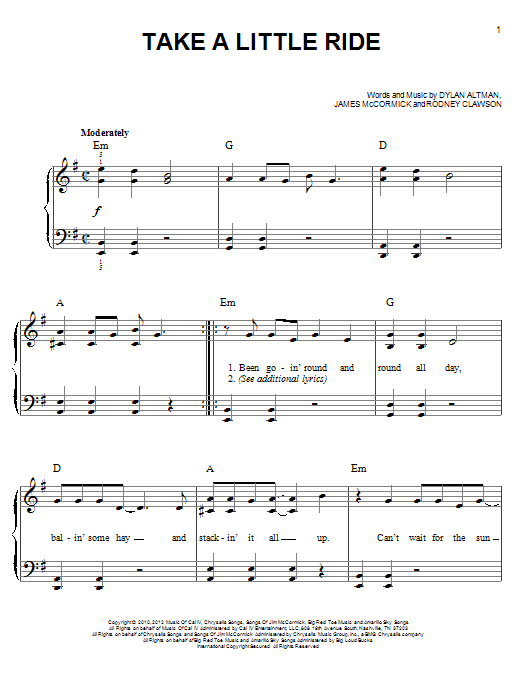 Take A Little Ride Sheet Music