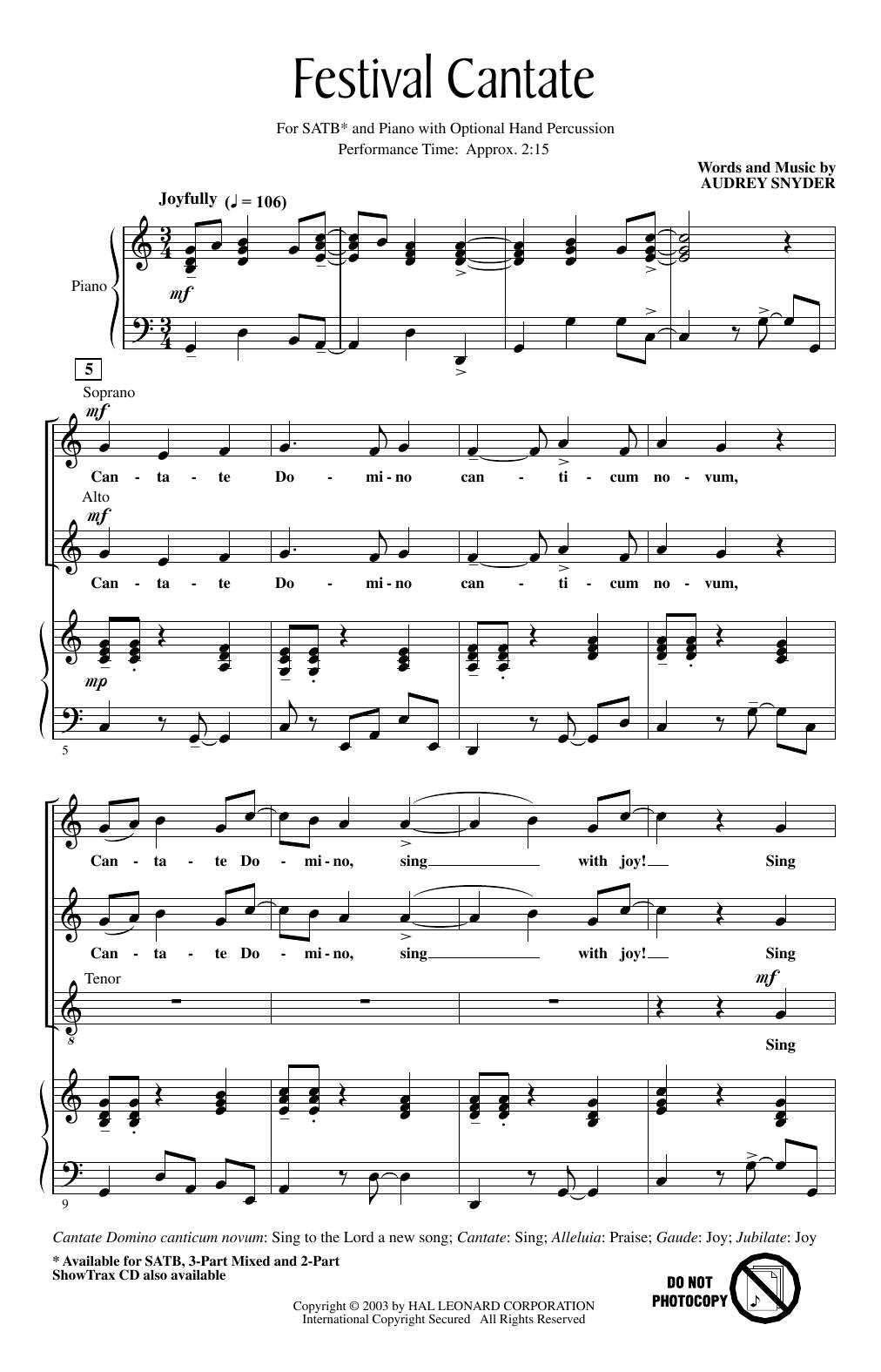Festival Cantate (SATB Choir)