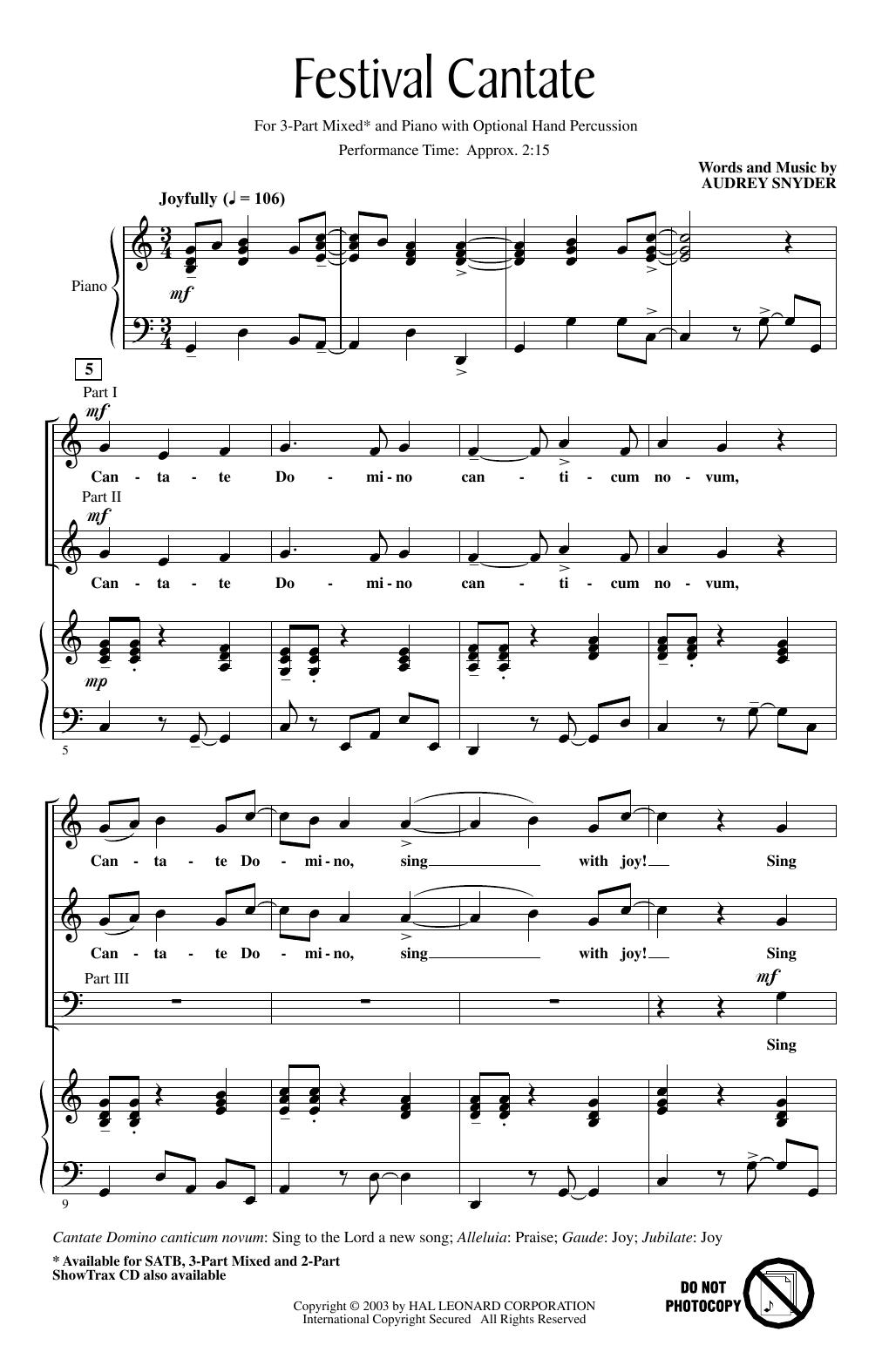Festival Cantate (3-Part Mixed Choir)