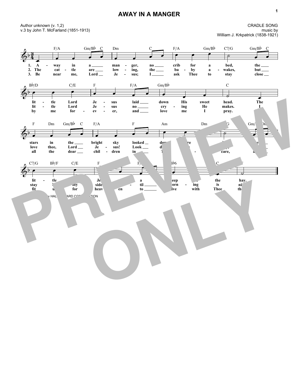 Away In A Manger (Melody Line, Lyrics & Chords)