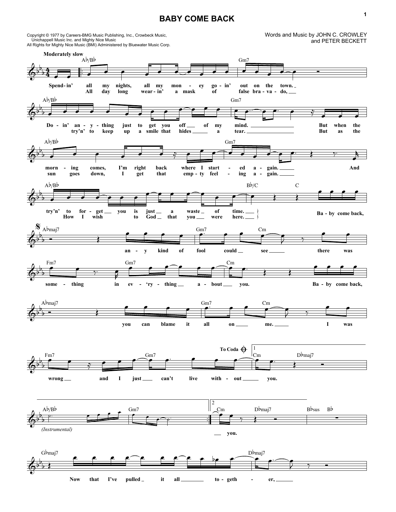 Baby Come Back (Lead Sheet / Fake Book)
