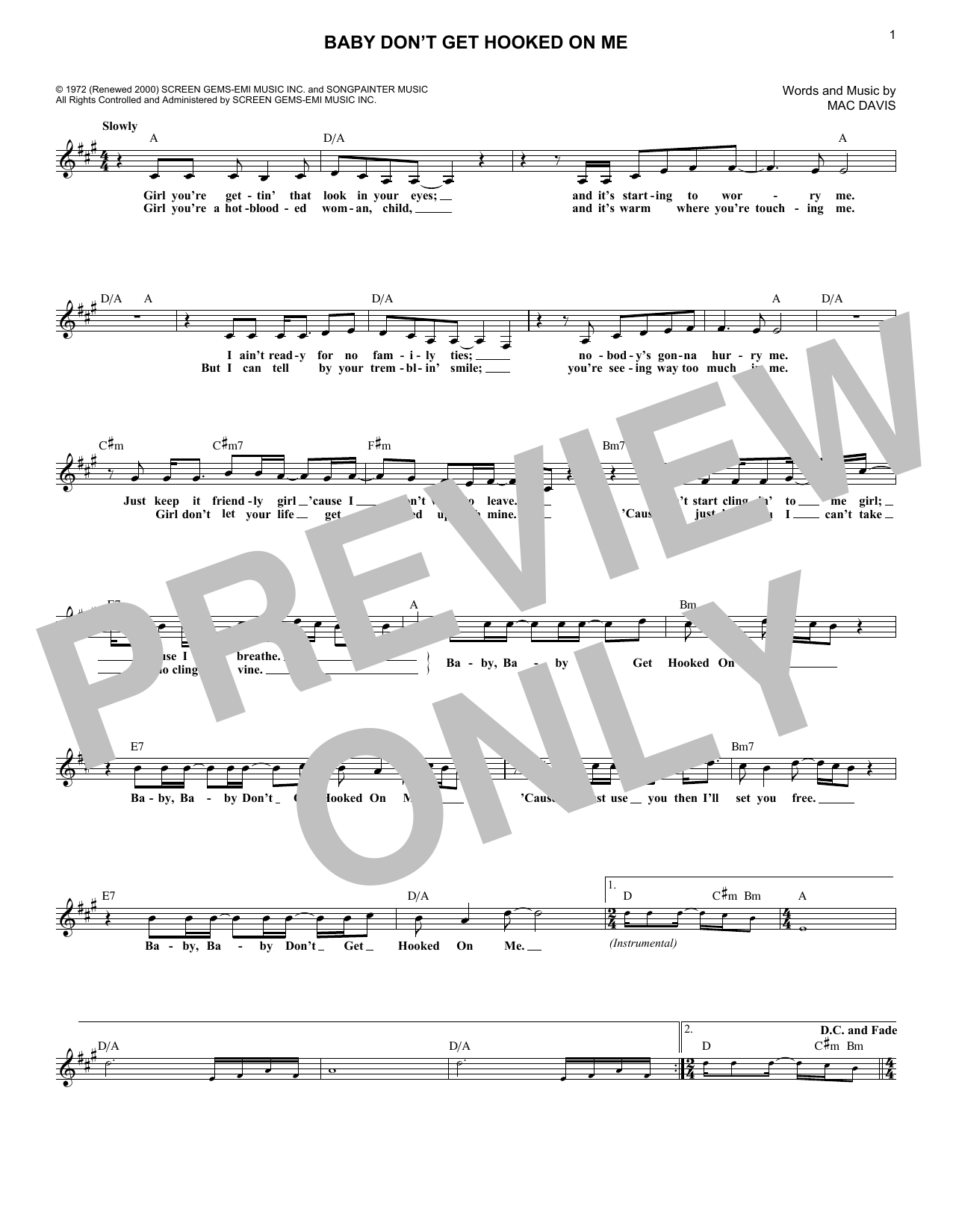 Baby Don't Get Hooked On Me (Lead Sheet / Fake Book)