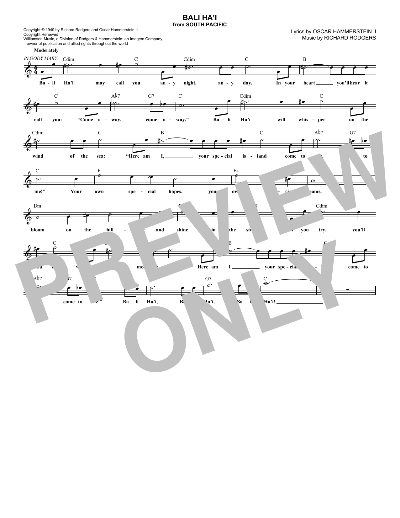 Bali Ha'i (Lead Sheet / Fake Book)