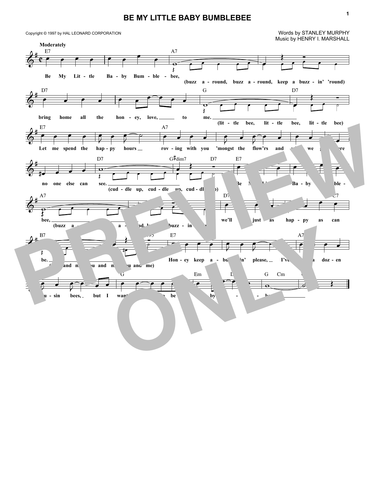 Be My Little Baby Bumblebee (Lead Sheet / Fake Book)