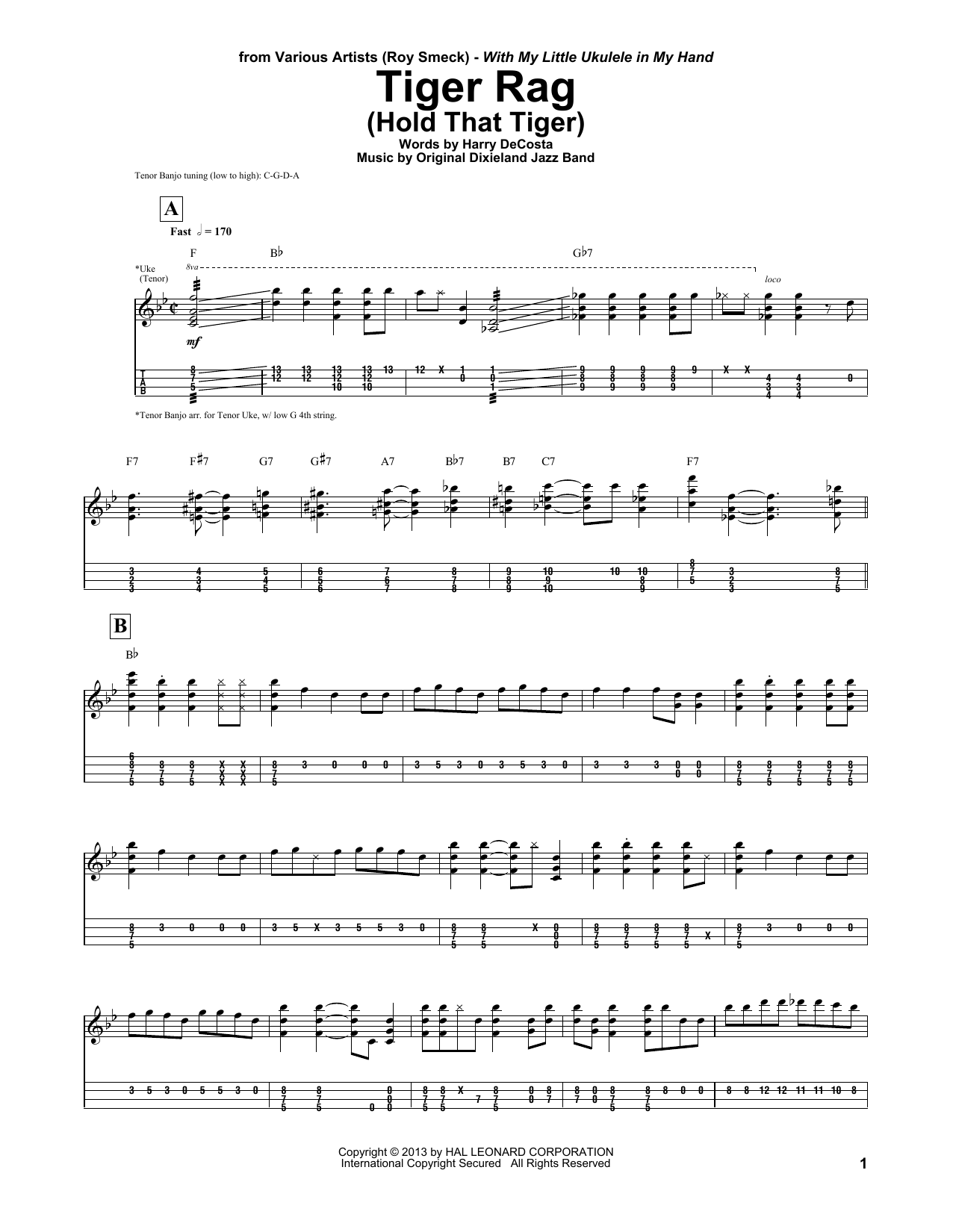 Tiger Rag (Hold That Tiger) Sheet Music