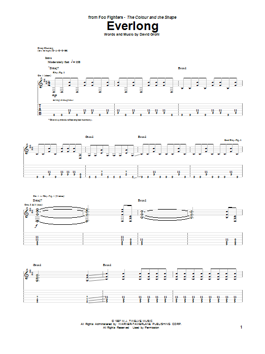 Tablature guitare Everlong de Foo Fighters - Tablature Guitare
