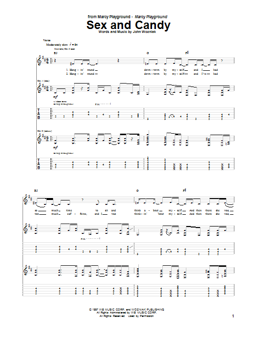 Tablature guitare Sex And Candy de Marcy Playground - Tablature Guitare