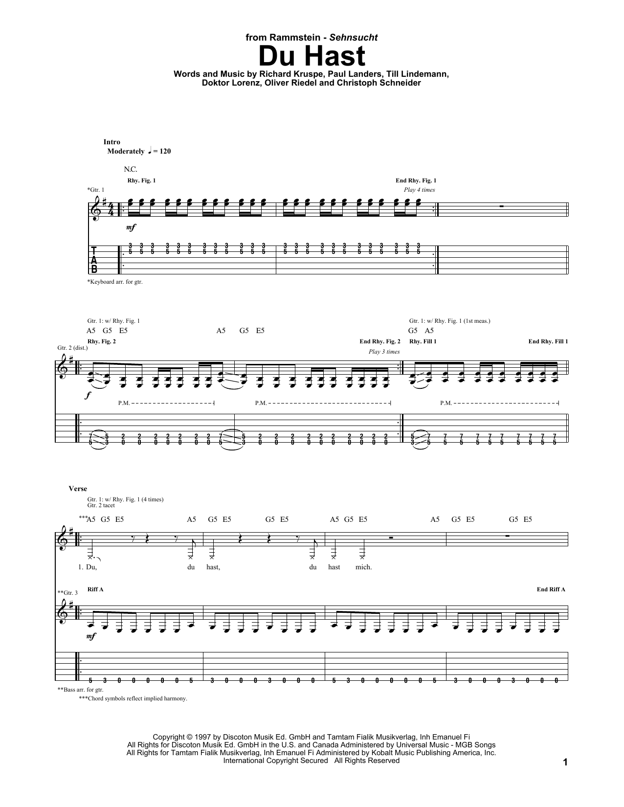 Tablature guitare Du Hast de Rammstein - Tablature Guitare