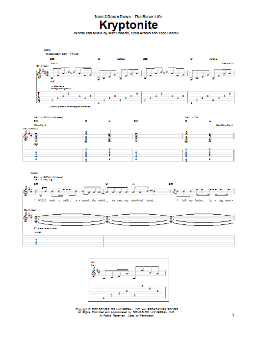 Guitar kryptonite guitar tabs : Kryptonite Guitar Tab by 3 Doors Down (Guitar Tab – 99270)