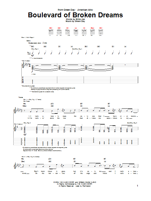 Tablature guitare Boulevard Of Broken Dreams de Green Day - Tablature Guitare
