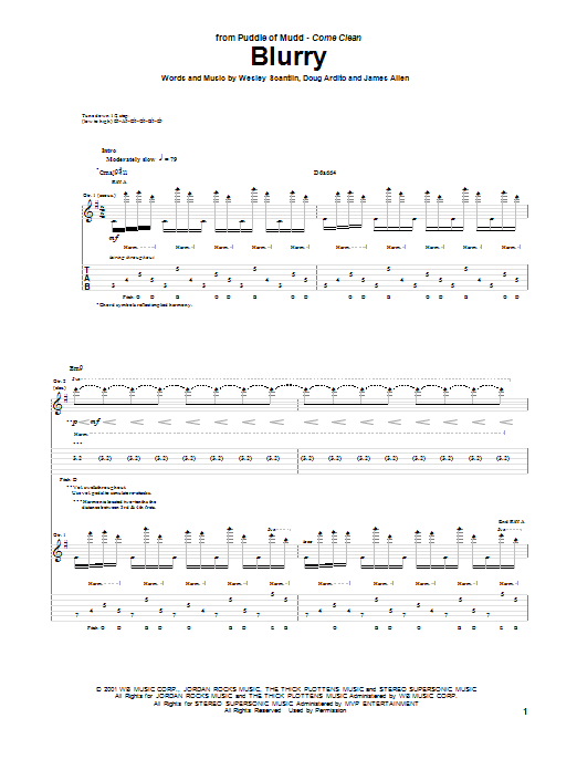 Blurry (Guitar Tab)