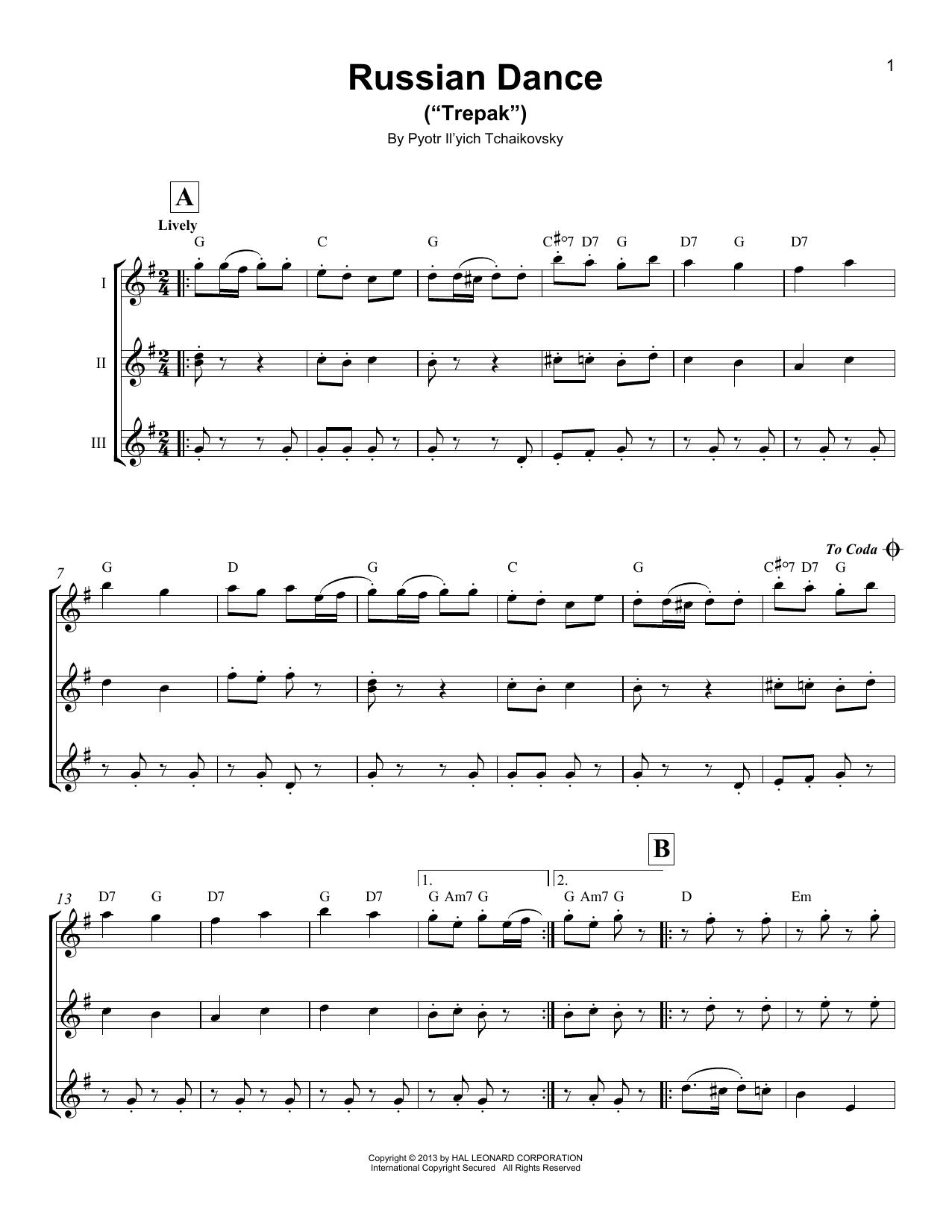 """Partition autre Russian Dance (""""Trepak"""") de Pyotr Il'yich Tchaikovsky - Autre"""