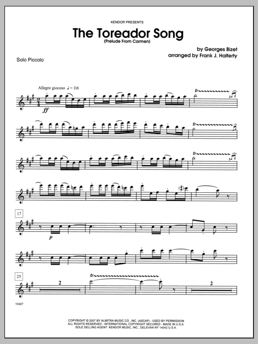 The Toreador Song (Prelude From Carmen) (complete set of parts) sheet music for clarinet and piano by Halferty and Georges Bizet. Score Image Preview.