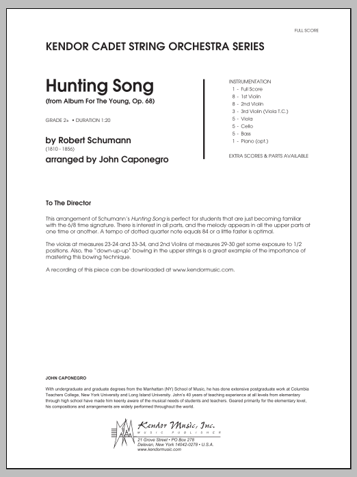 Hunting Song (from Album For The Young, Op. 68) (COMPLETE) sheet music for orchestra by Caponegro and Robert Schumann. Score Image Preview.
