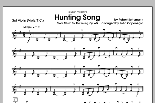 Hunting Song (from Album For The Young, Op. 68) - Violin 3 Sheet Music
