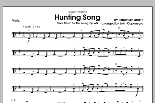 Hunting Song (from Album For The Young, Op. 68) - Viola Sheet Music