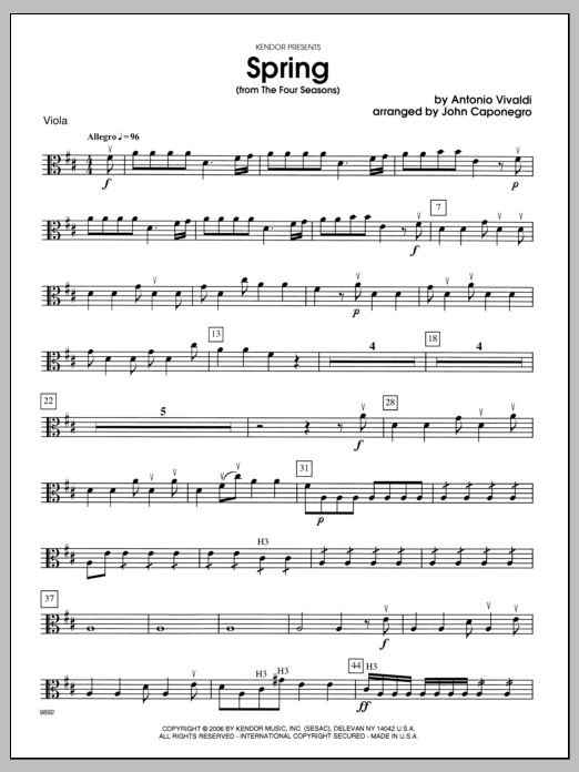 Spring (from The Four Seasons) - Viola Sheet Music