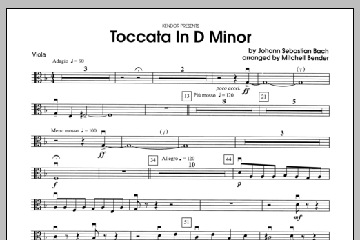 Toccata in D Minor - Viola Sheet Music