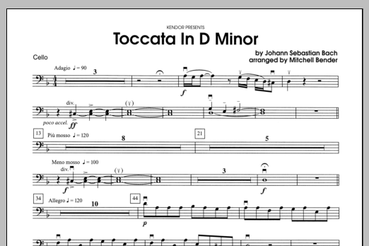 Toccata in D Minor - Cello Sheet Music