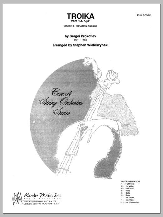 Troika (from Lt. Kije) (COMPLETE) sheet music for orchestra by Wieloszynski. Score Image Preview.