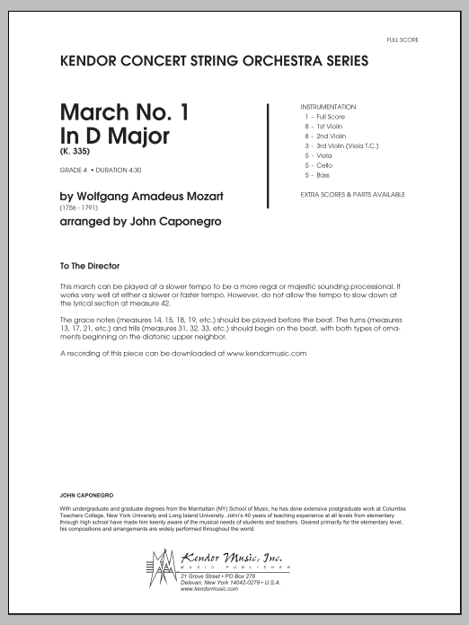 March No. 1 In D Major (K. 335) (COMPLETE) sheet music for orchestra by Caponegro and Wolfgang Amadeus Mozart. Score Image Preview.