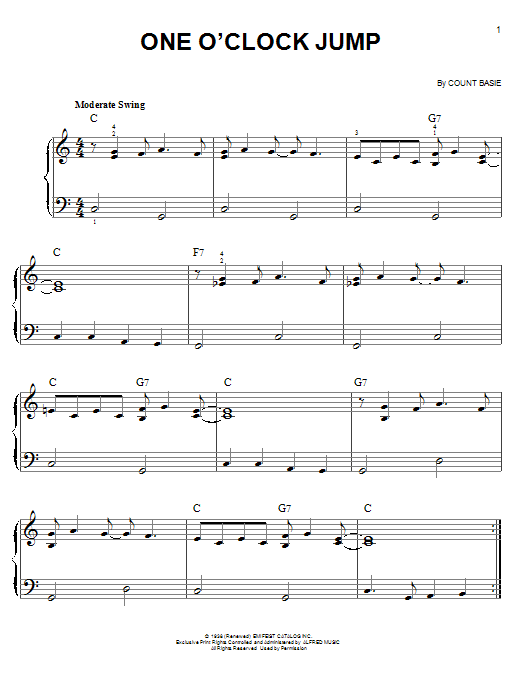 One O'Clock Jump Sheet Music