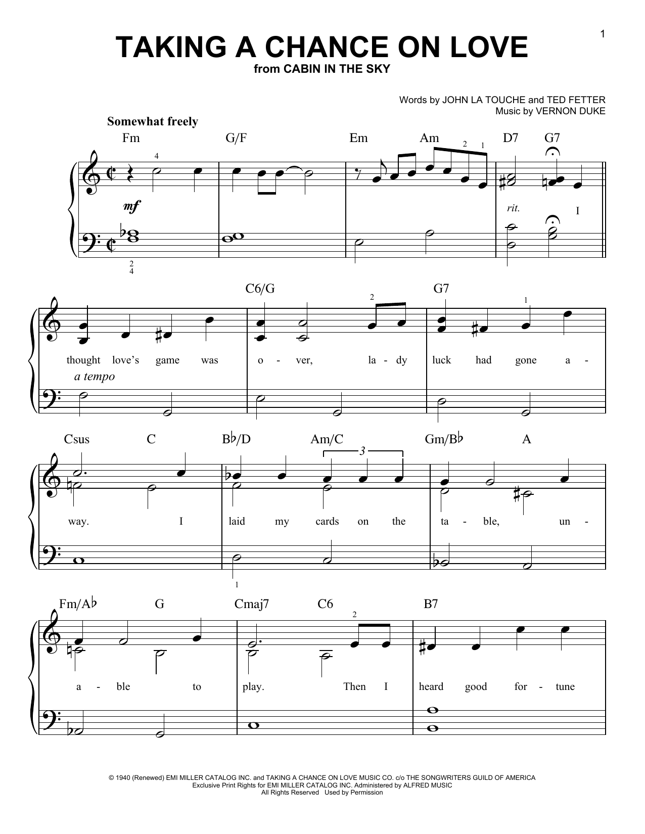 Taking A Chance On Love Sheet Music
