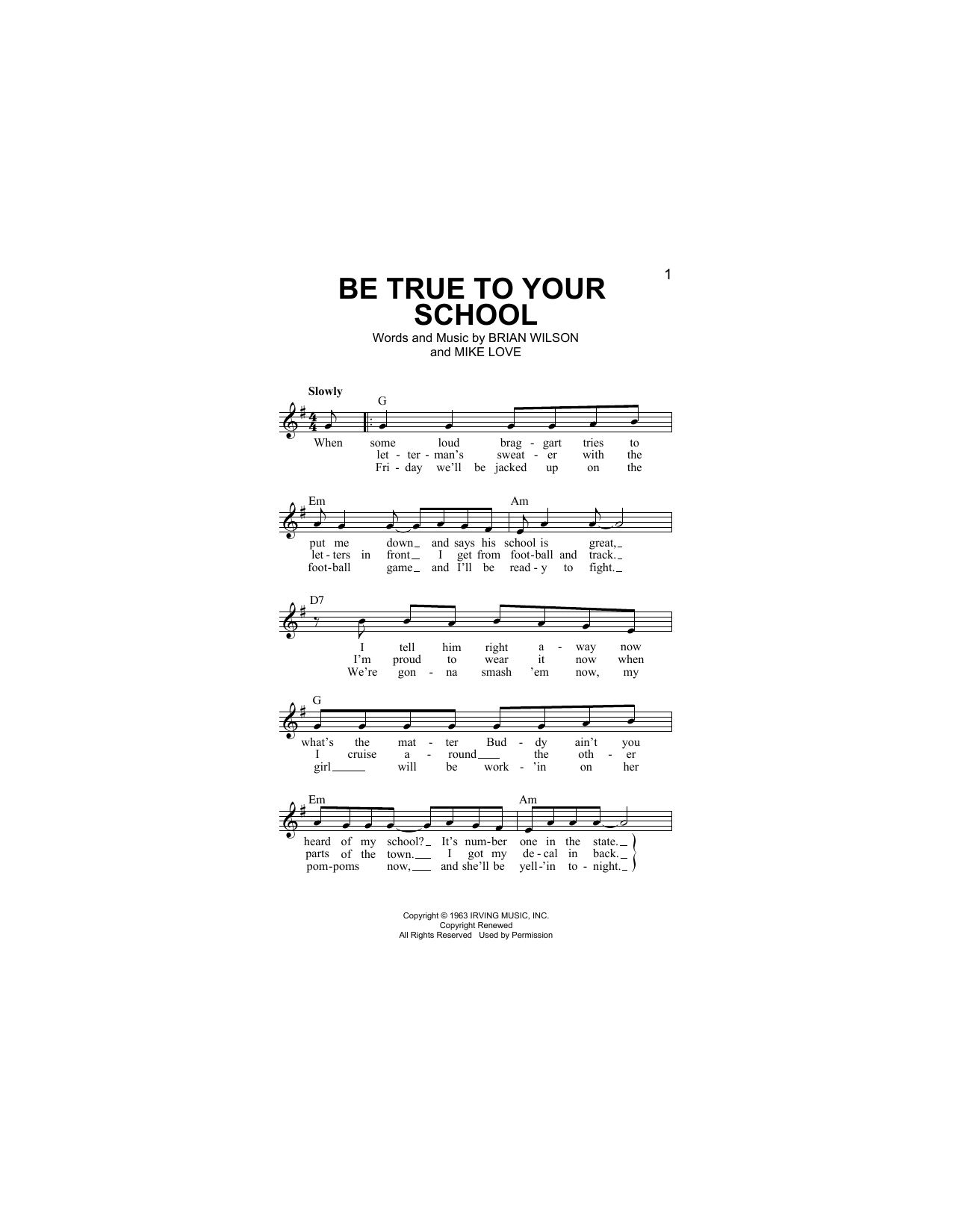 Be True To Your School Sheet Music
