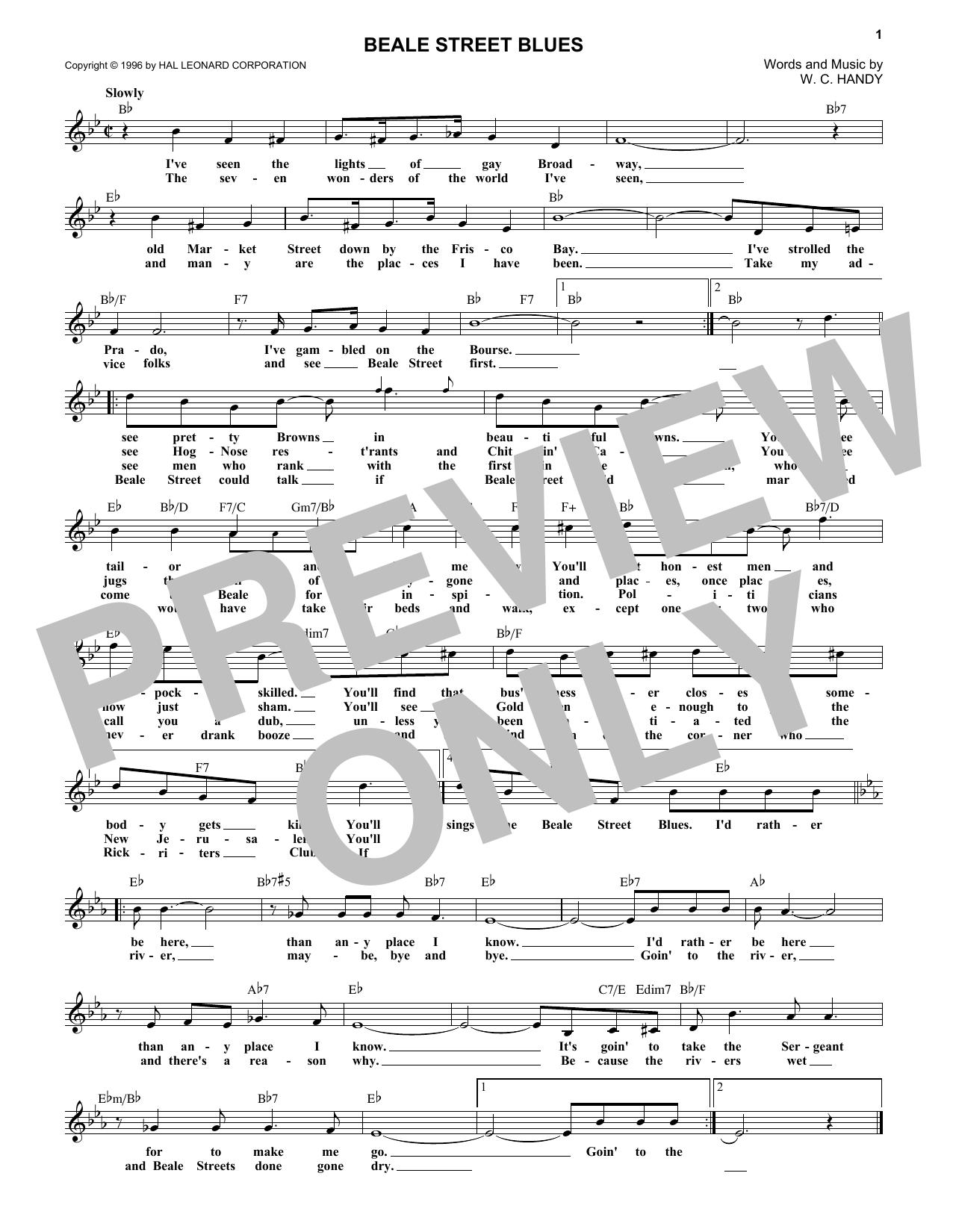 Beale Street Blues (Lead Sheet / Fake Book)