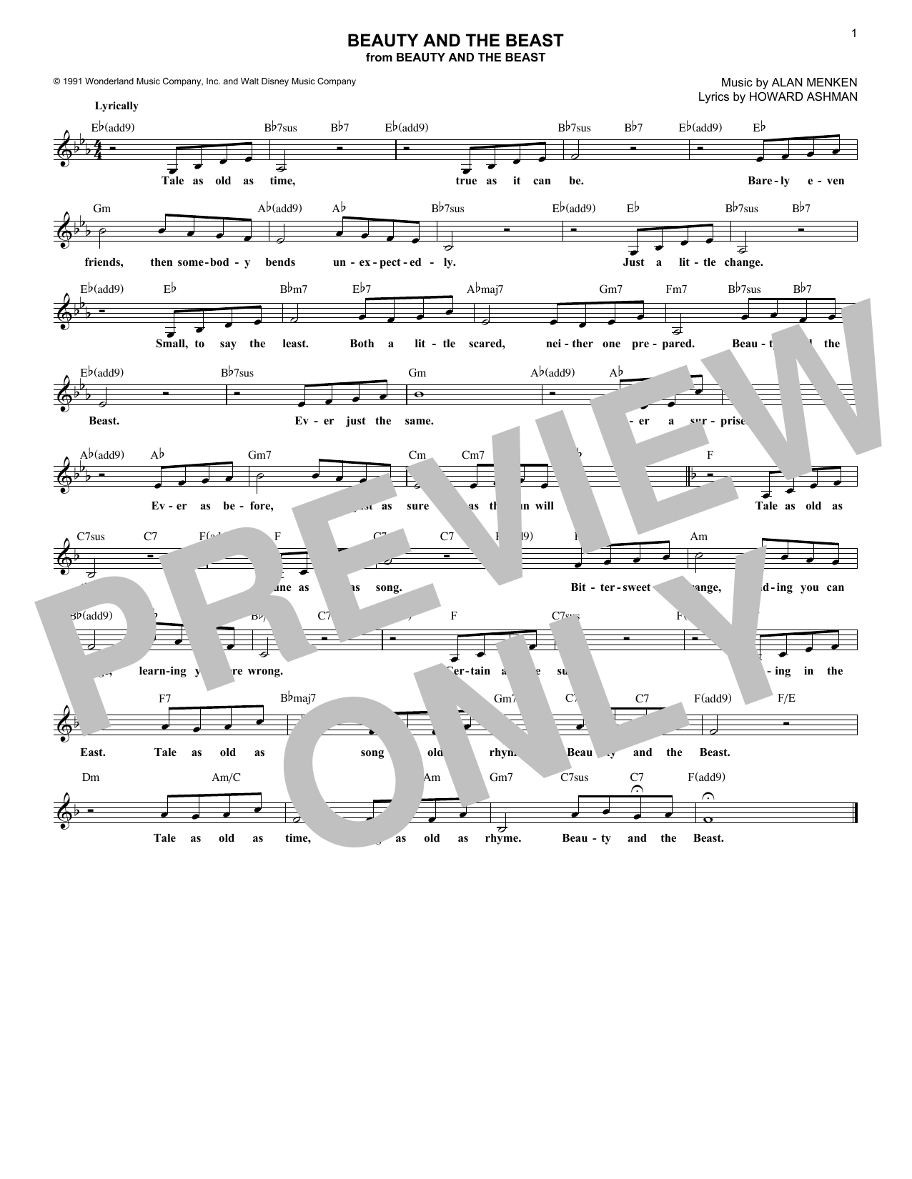 Beauty And The Beast (Lead Sheet / Fake Book)
