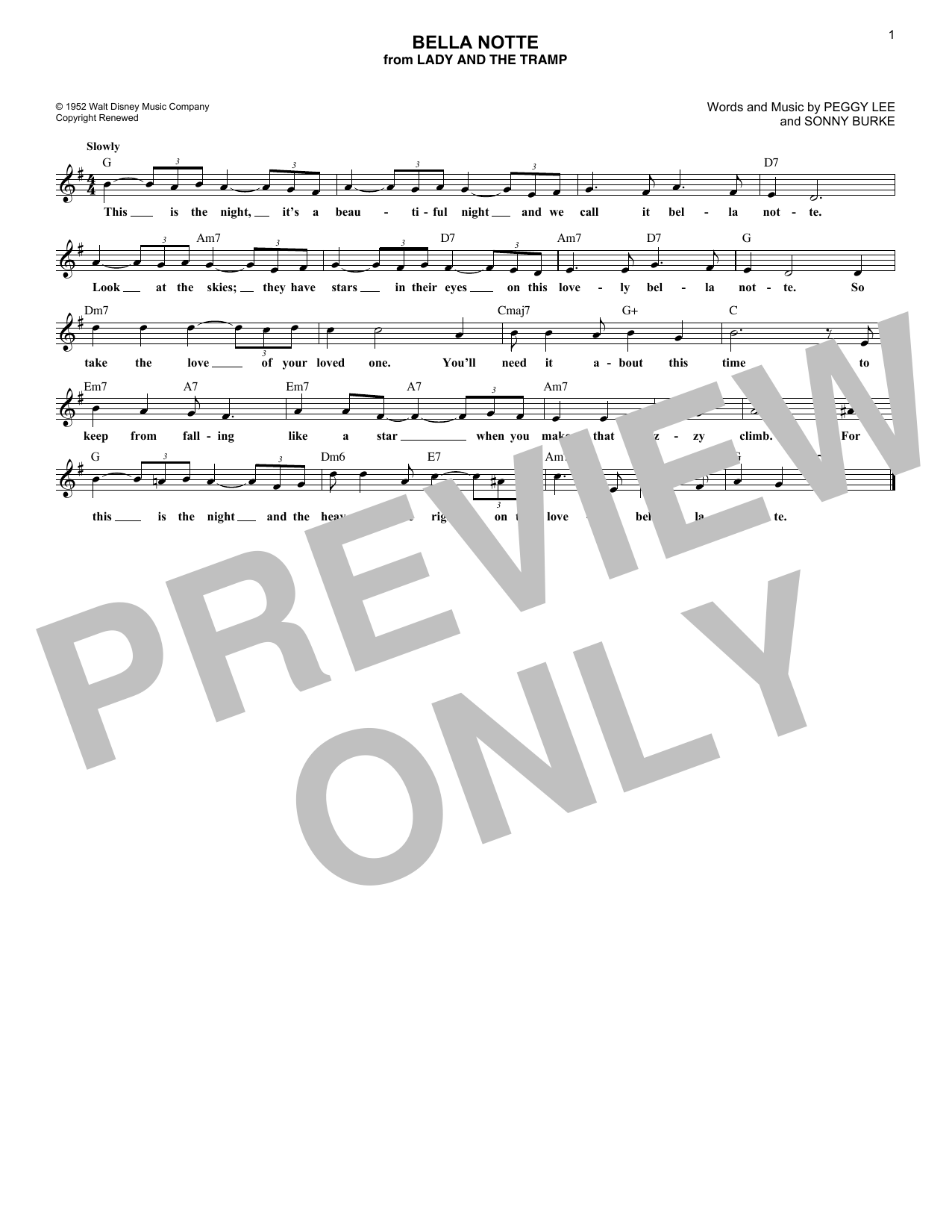Bella Notte (from Lady And The Tramp) (Lead Sheet / Fake Book)