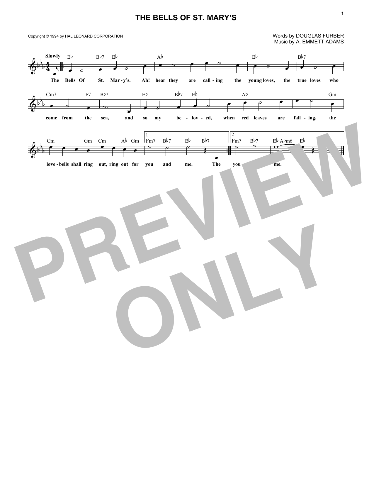 The Bells Of St. Mary's (Lead Sheet / Fake Book)