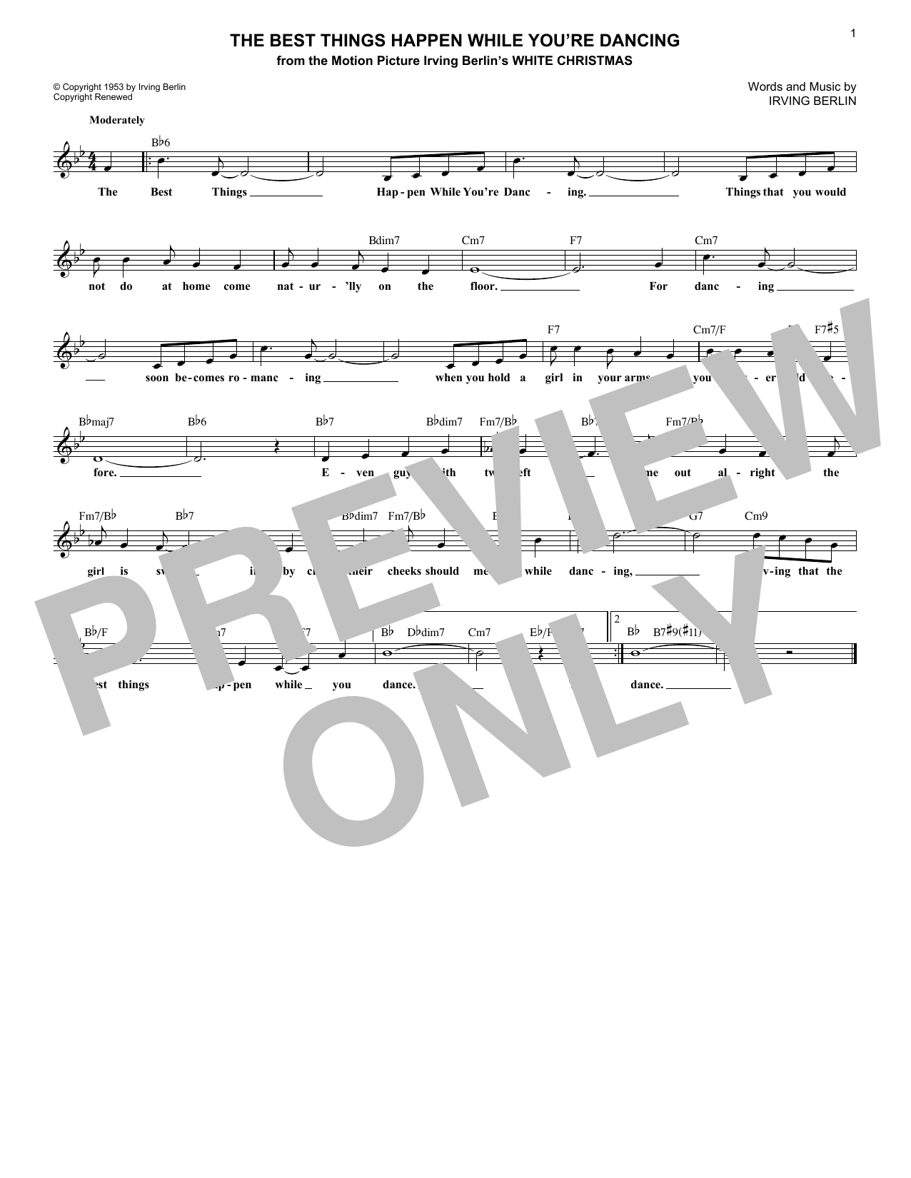 The Best Things Happen While You're Dancing (Lead Sheet / Fake Book)