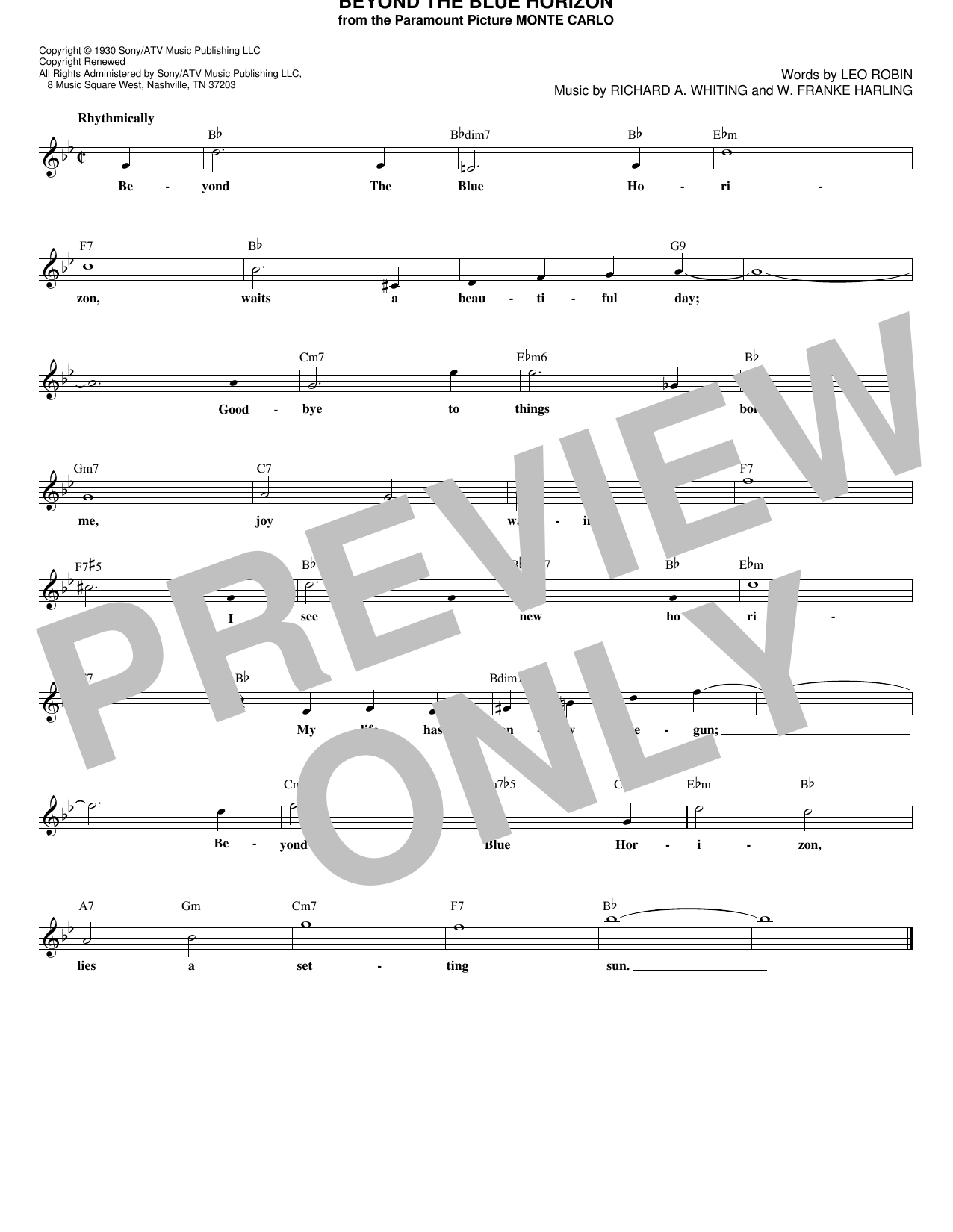 Beyond The Blue Horizon (Lead Sheet / Fake Book)