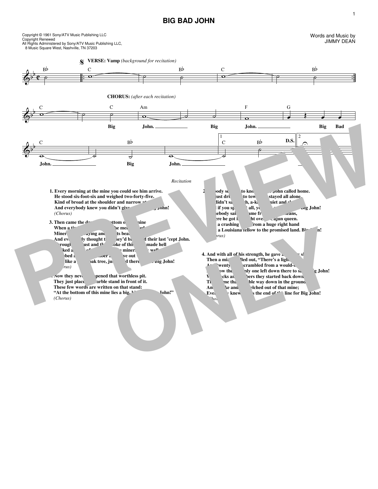 Big Bad John (Lead Sheet / Fake Book)