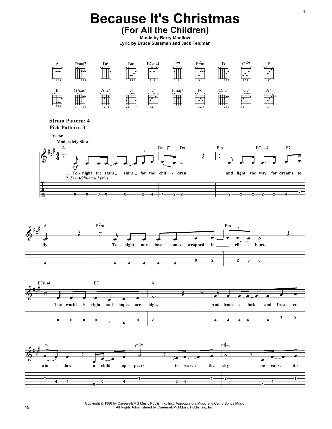 Tablature guitare Because It's Christmas (For All The Children) de Barry Manilow - Tablature guitare facile