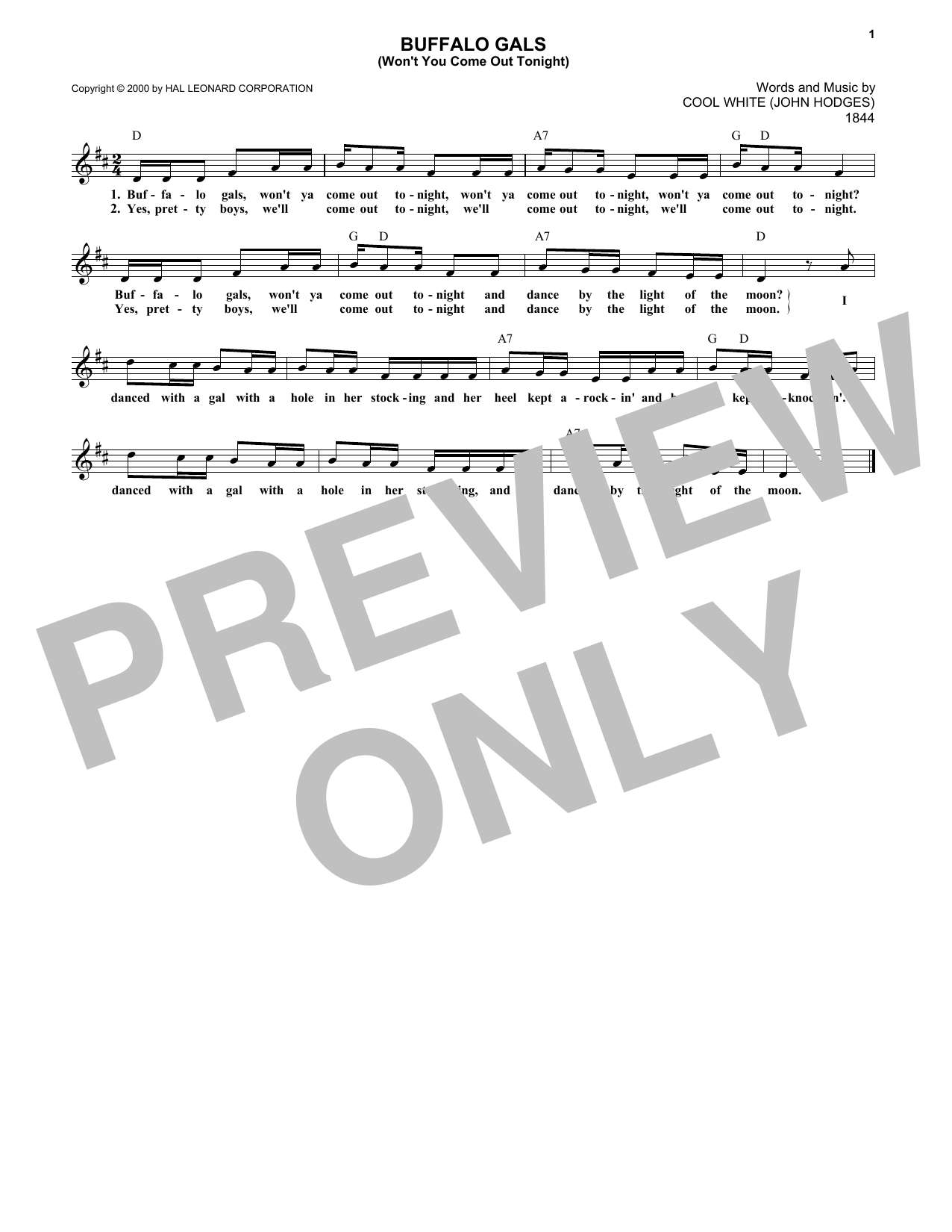 Buffalo Gals (Won't You Come Out Tonight?) (Lead Sheet / Fake Book)