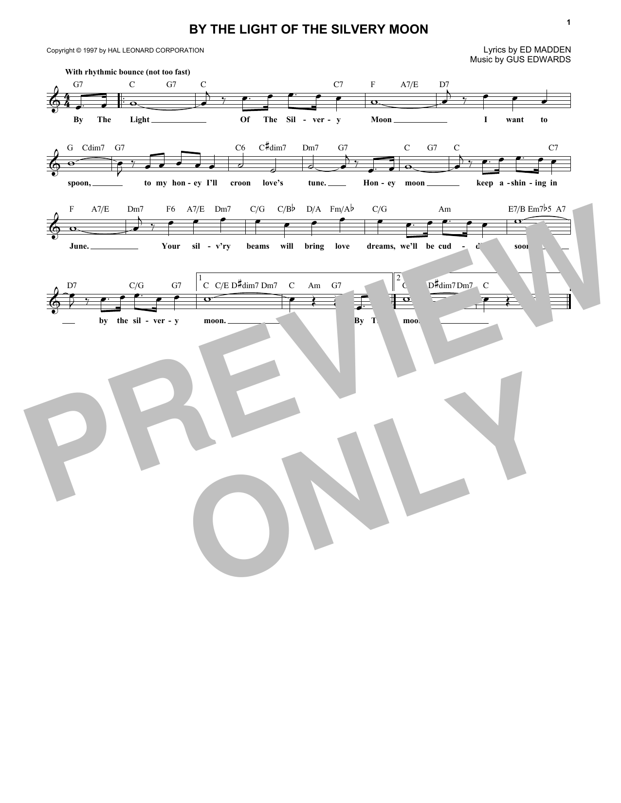 By The Light Of The Silvery Moon (Lead Sheet / Fake Book)