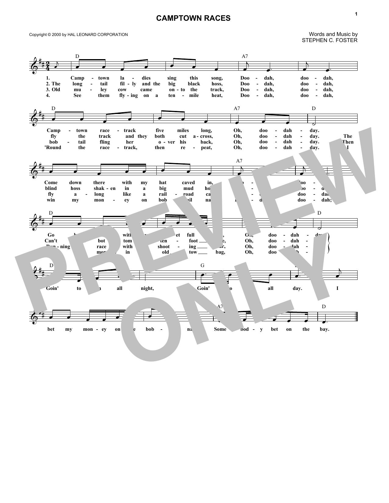 Camptown Races (Lead Sheet / Fake Book)